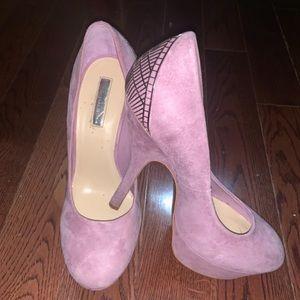 H by Halston lavender suede heels